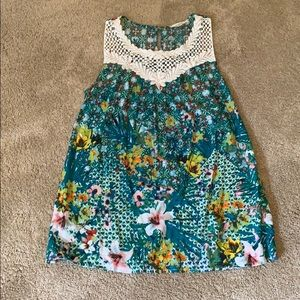 Embroidered flower print tank